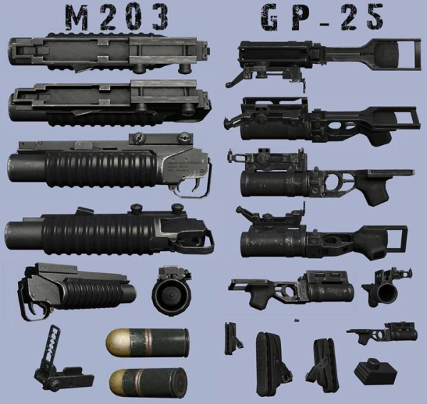 m203 and gp-25 3d models 600x568